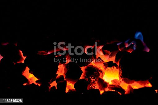 istock Coal anthracite. Burning solid fuel. 1135845028