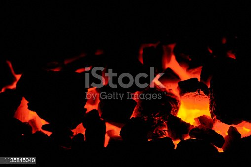 istock Coal anthracite. Burning solid fuel. 1135845040