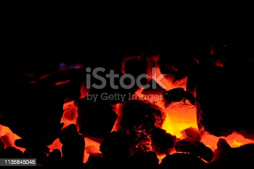 istock Coal anthracite. Burning solid fuel. 1135845045
