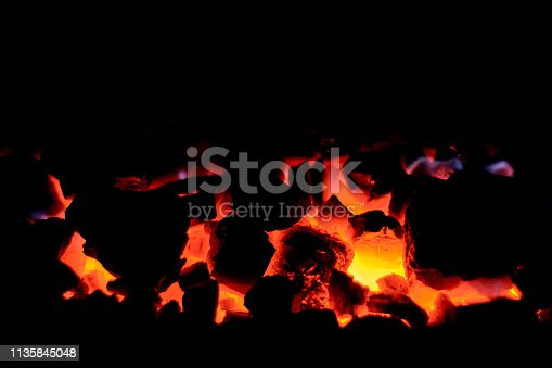istock Coal anthracite. Burning solid fuel. 1135845048