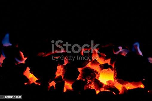 istock Coal anthracite. Burning solid fuel. 1135845108