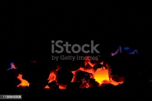 istock Coal anthracite. Burning solid fuel. 1135845308