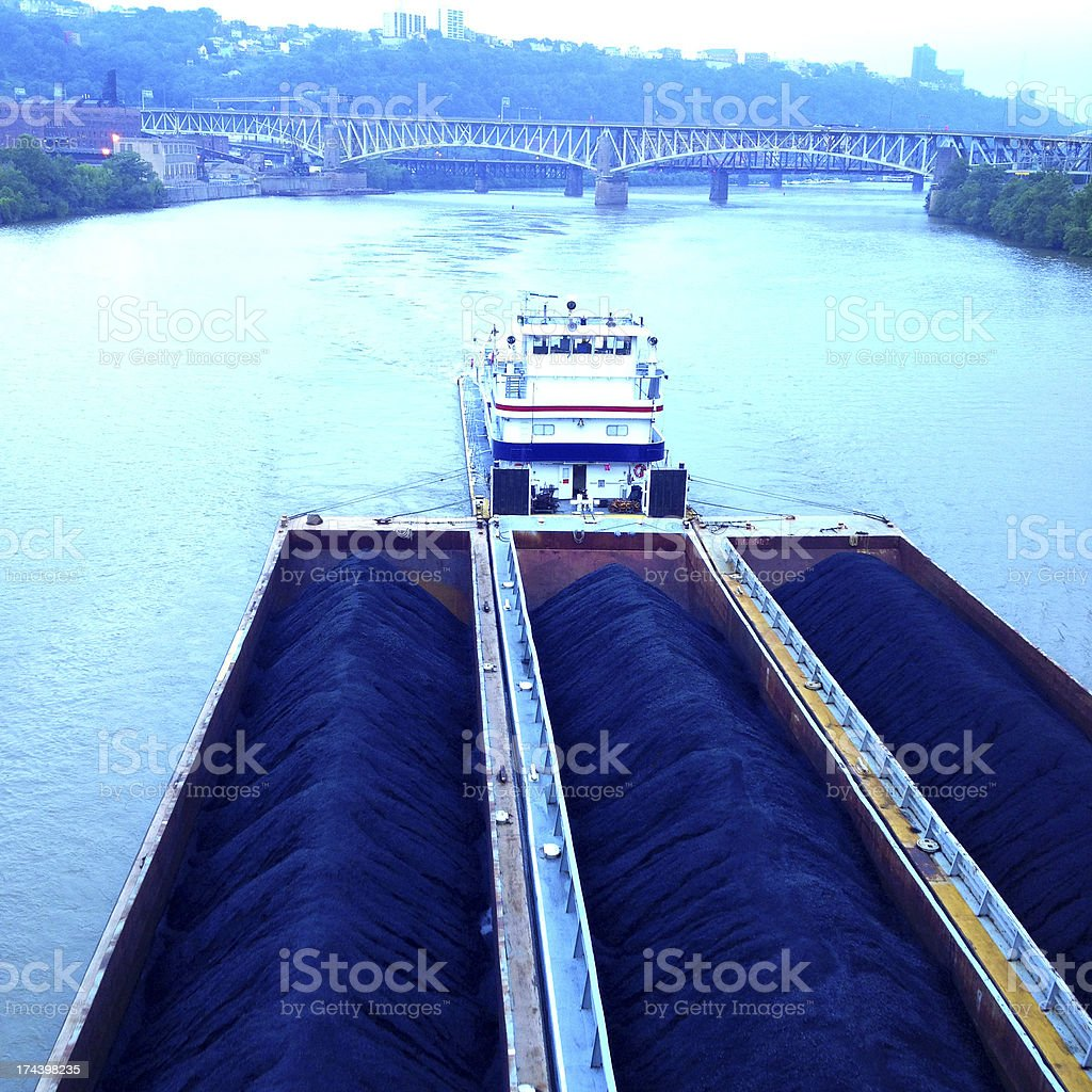 Coal Barges stock photo
