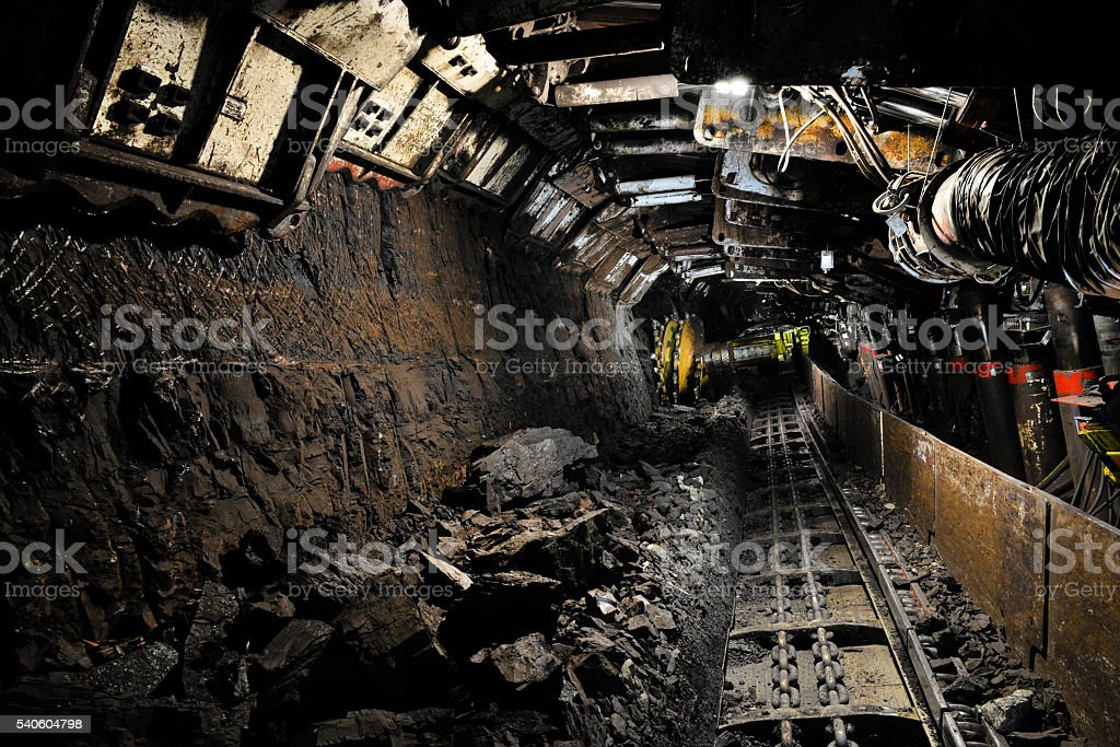 Coal extraction-mine excavator stock photo