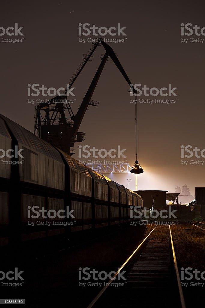 Coal Harbor Crane And Train At Night royalty-free stock photo