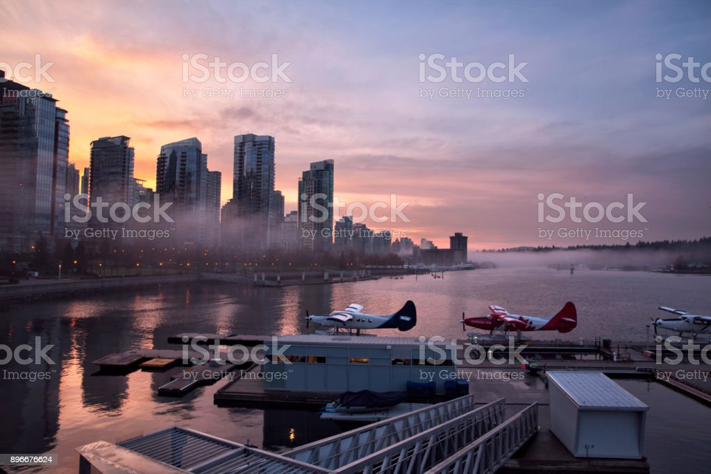 Coal harbour at sunset, Vancouver, Canada stock photo
