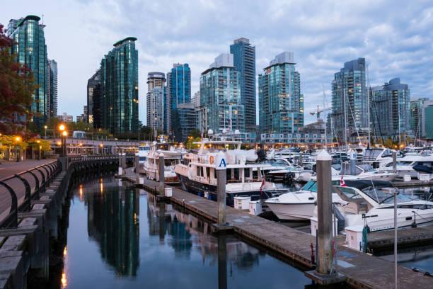 coal harbour in vancouver, bc, kanada im morgengrauen - immobilienangebote stock-fotos und bilder