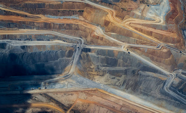 Coal mine , abstract aerial  photograph flying over a coal mine in Queensland Australia, aerial abstract mining natural resources stock pictures, royalty-free photos & images