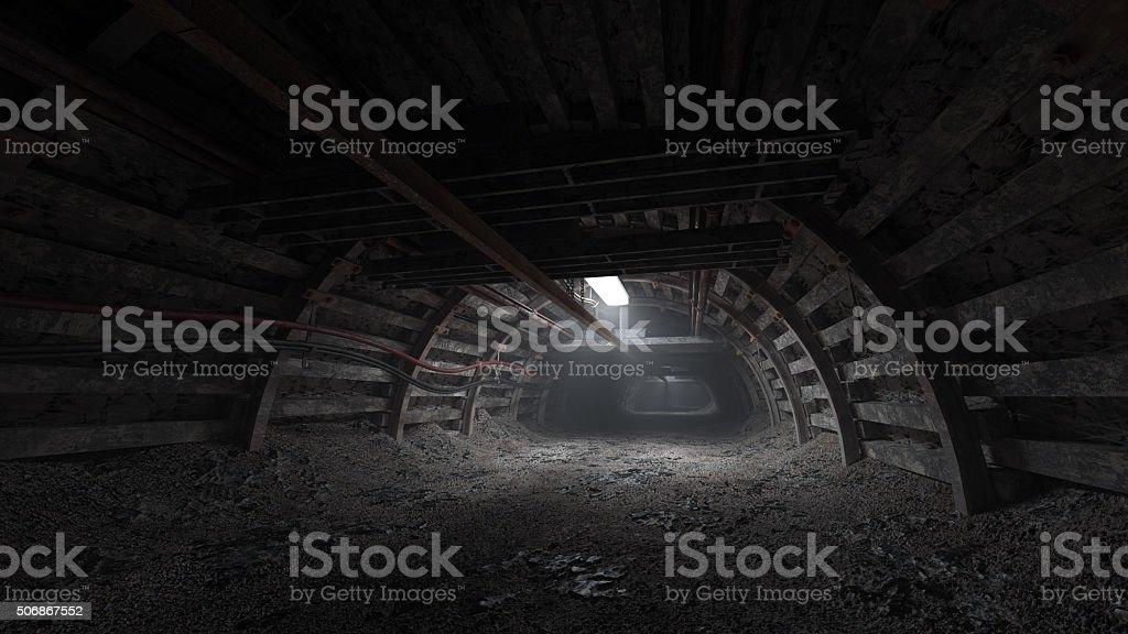 Coal mine dark tunnel stock photo