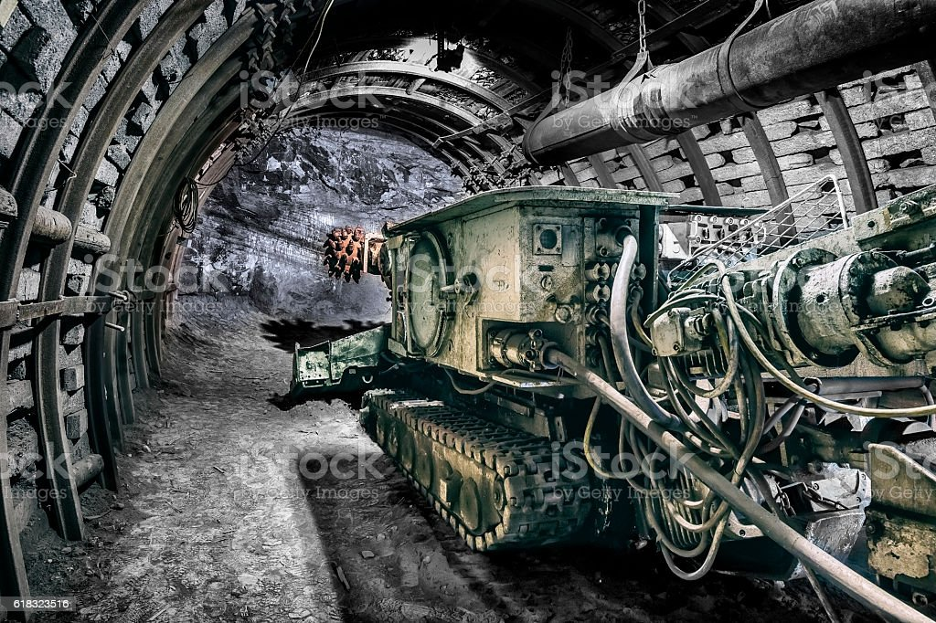 Coal mine drilling machine stock photo