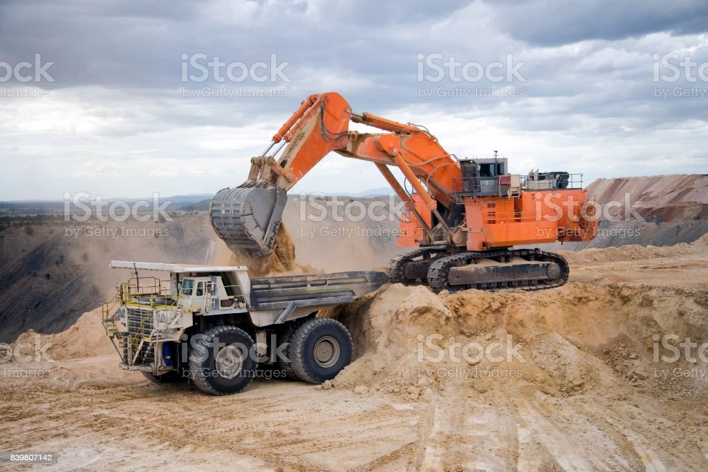 Coal Mine Excavator and Dump Truck stock photo