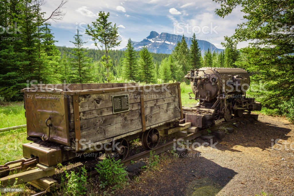 Coal mine train in the ghost town of Bankhead near Banff, Canada stock photo