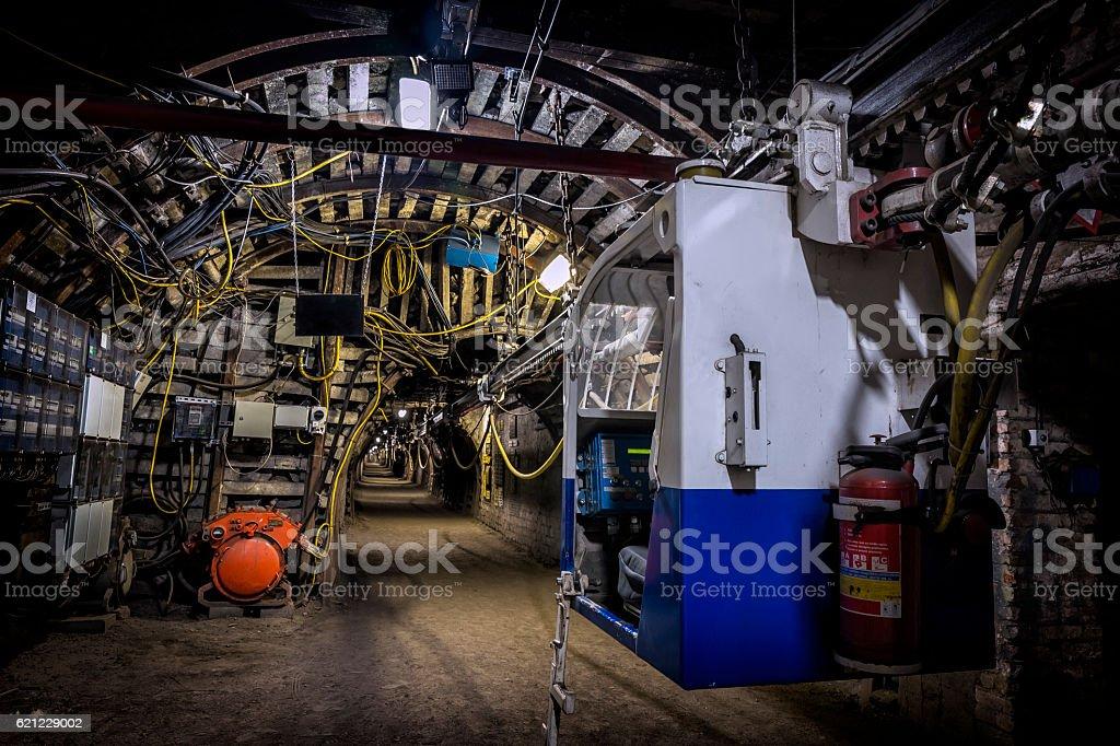 Coal mine underground corridor with electric railway carriage – Foto