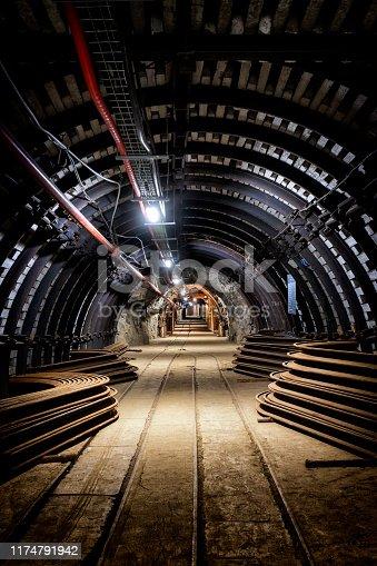 Coal mine underground corridor with equipment, Guido coal mine, Zabrze, Poland