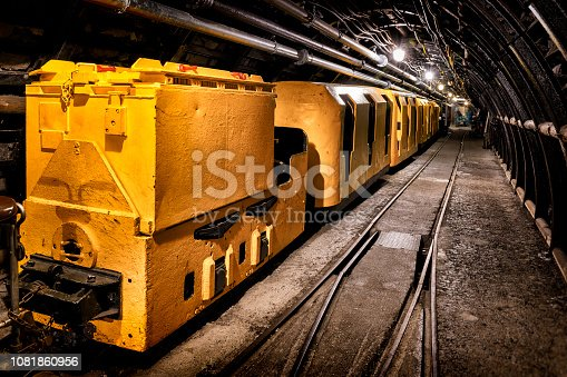 Coal mine underground corridor with freight railroad cars,  Bochum, Germany