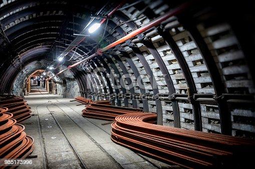 Coal mine underground corridor with support system and  railroad tracks, Makoszowy coal mine in Zabrze, Poland