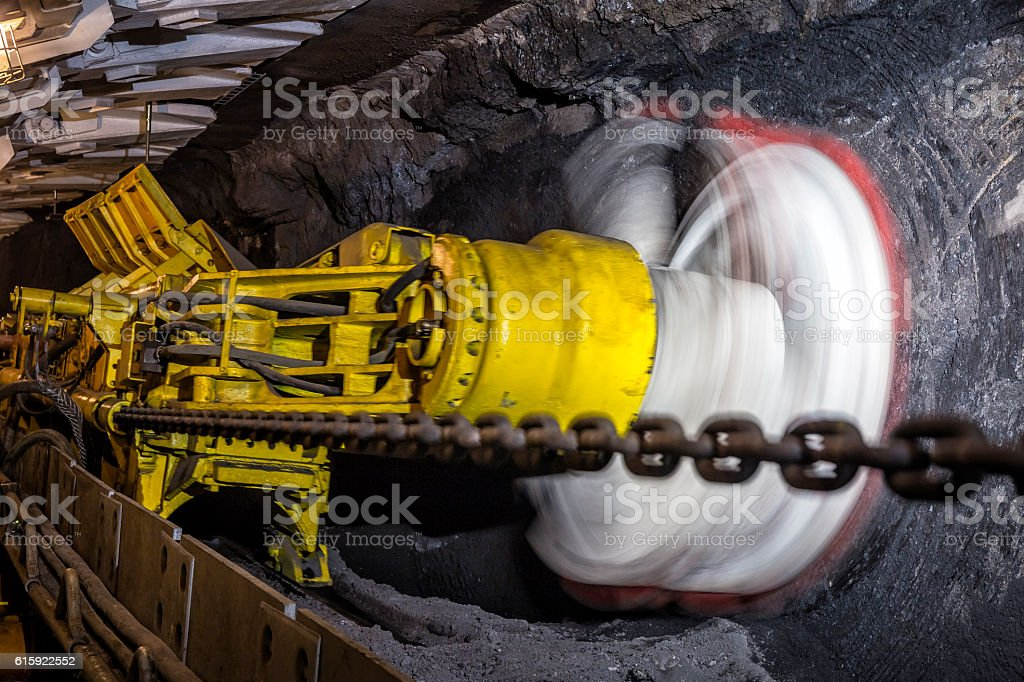 Coal Mine Underground Drilling Machine In Action Stock Photo