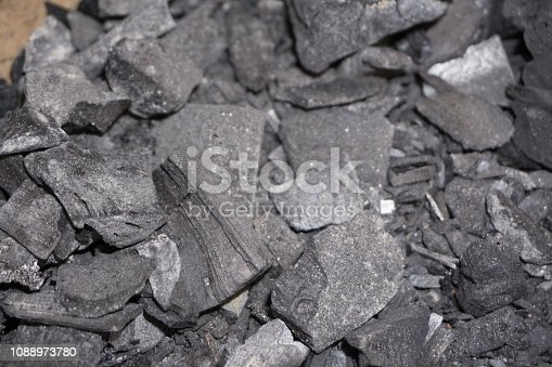 istock Coal mineral black cube stone background 1088973780