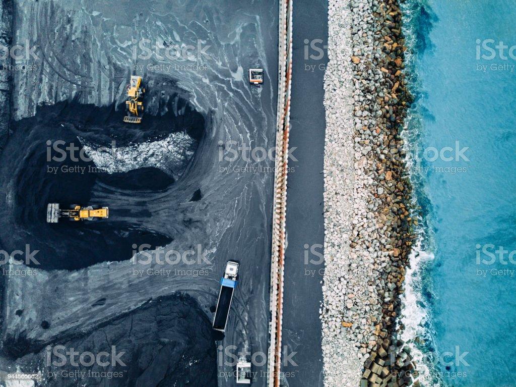 Coal mineral exploitation stock photo