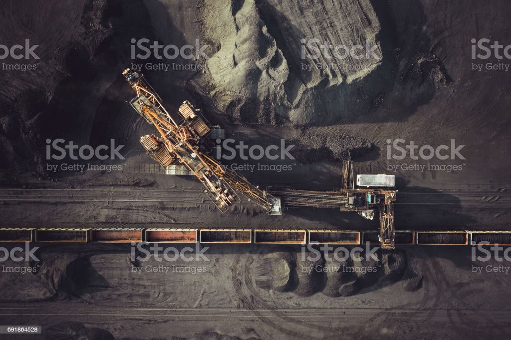 Coal mining from above royalty-free stock photo