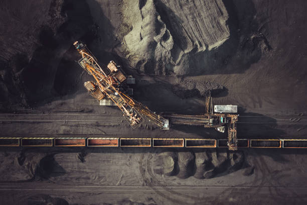 Coal mining from above stock photo