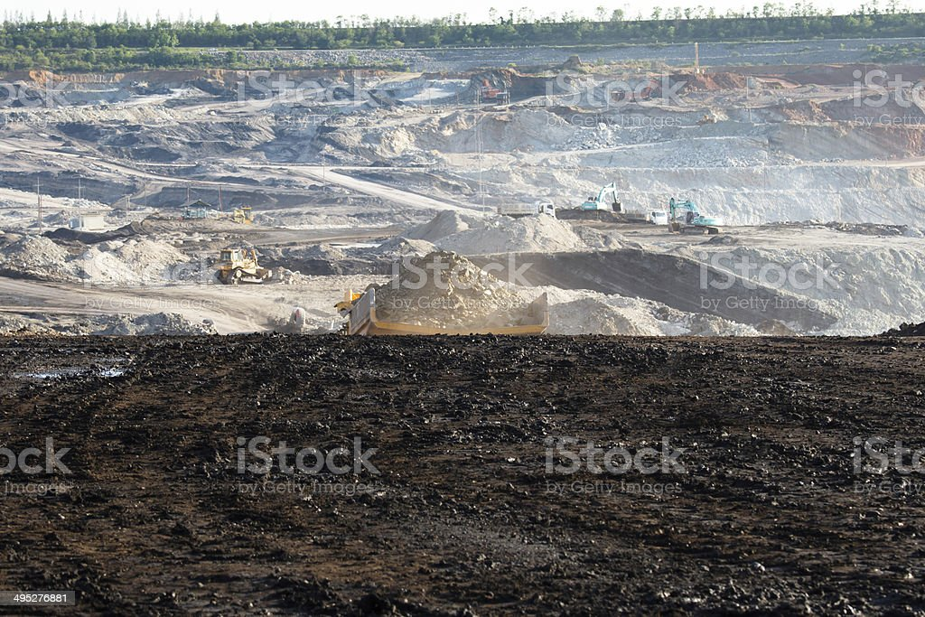 Coal mining in open pit stock photo