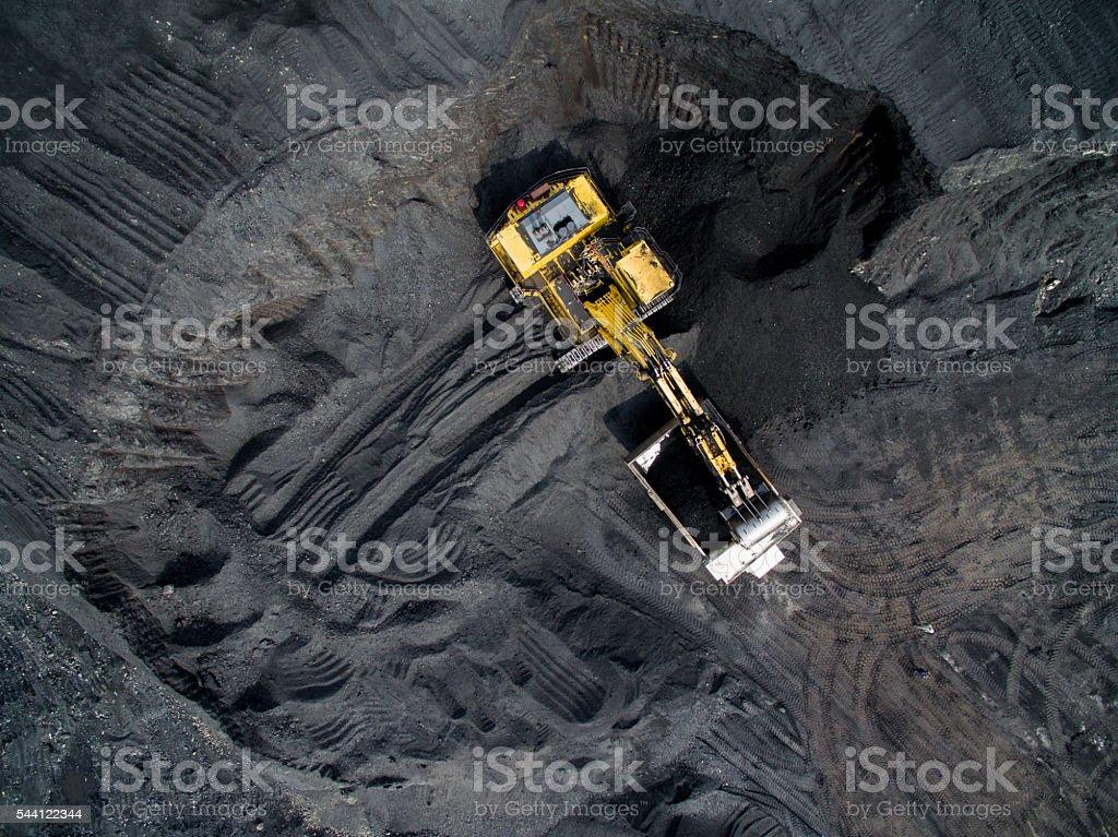 Coal mining on open pit stock photo