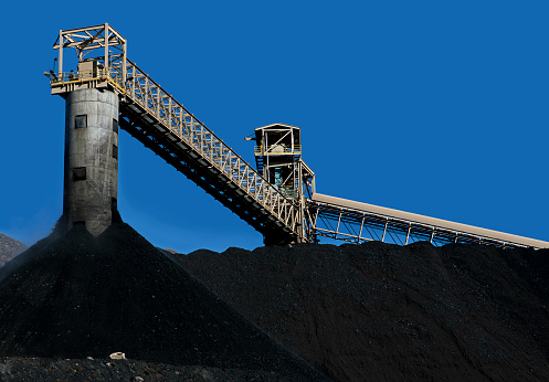 Conveyor Belt and Piles of Coal in Central Colorado Mine.