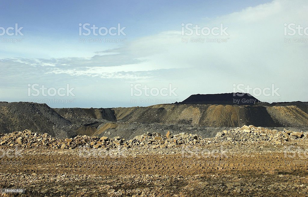 Coal Piles at Pennsylvania Strip Mine stock photo