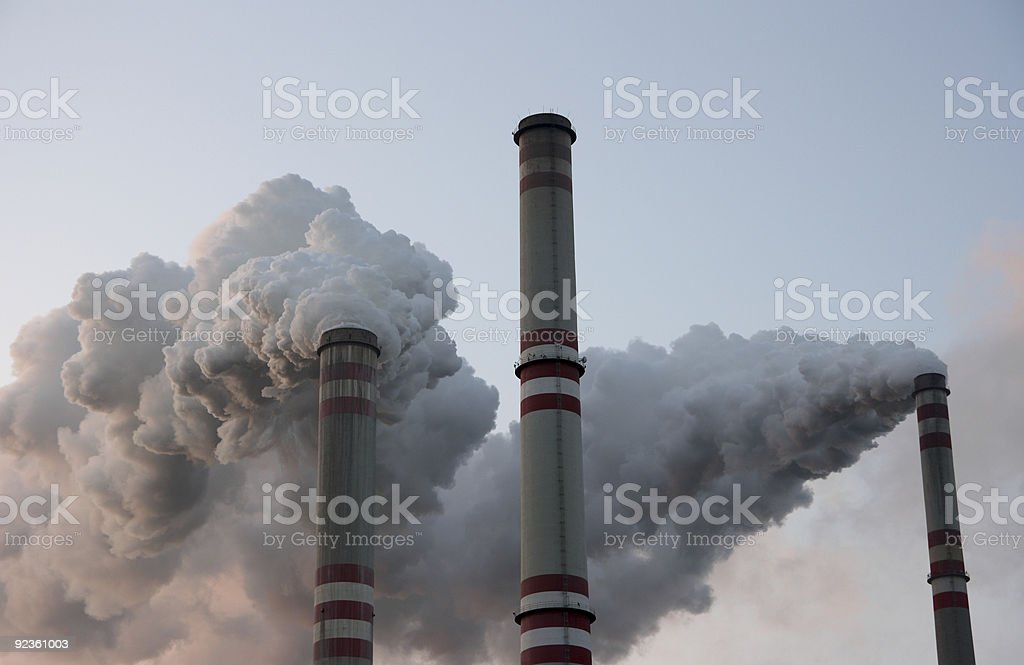 Coal power plant chimneys stock photo