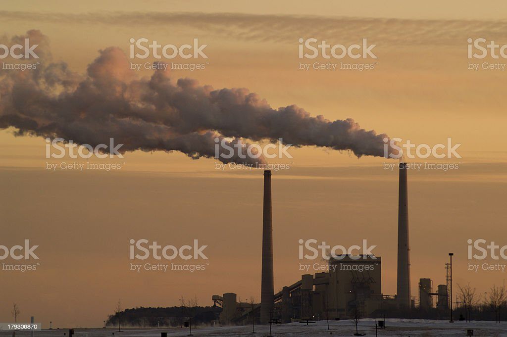 Coal Power Plant near Lake Michigan royalty-free stock photo