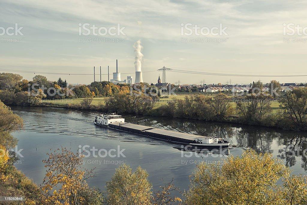 Coal Power Plant, Staudinger, Germany, Grosskrotzeburg, Energiewende; Main River stock photo