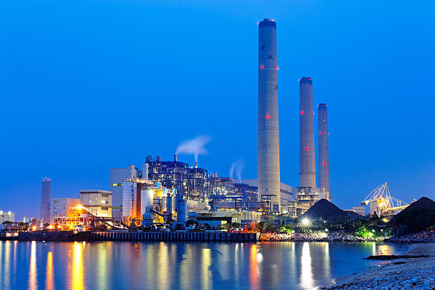 coal power station and night blue sky coal power station and night blue sky power station stock pictures, royalty-free photos & images