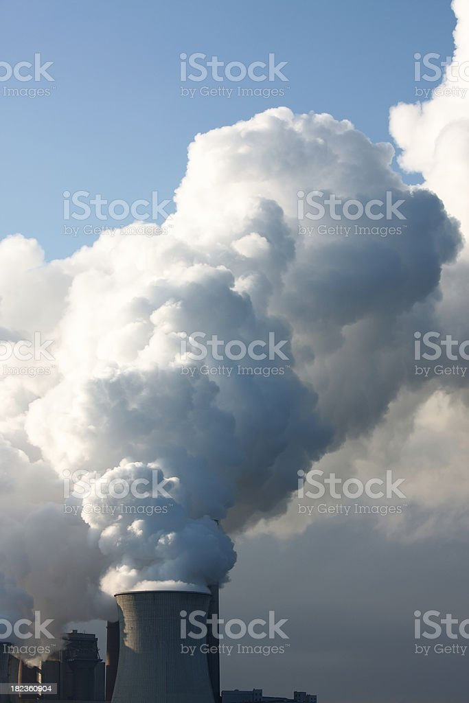 Coal power station burning fossil fuels royalty-free stock photo