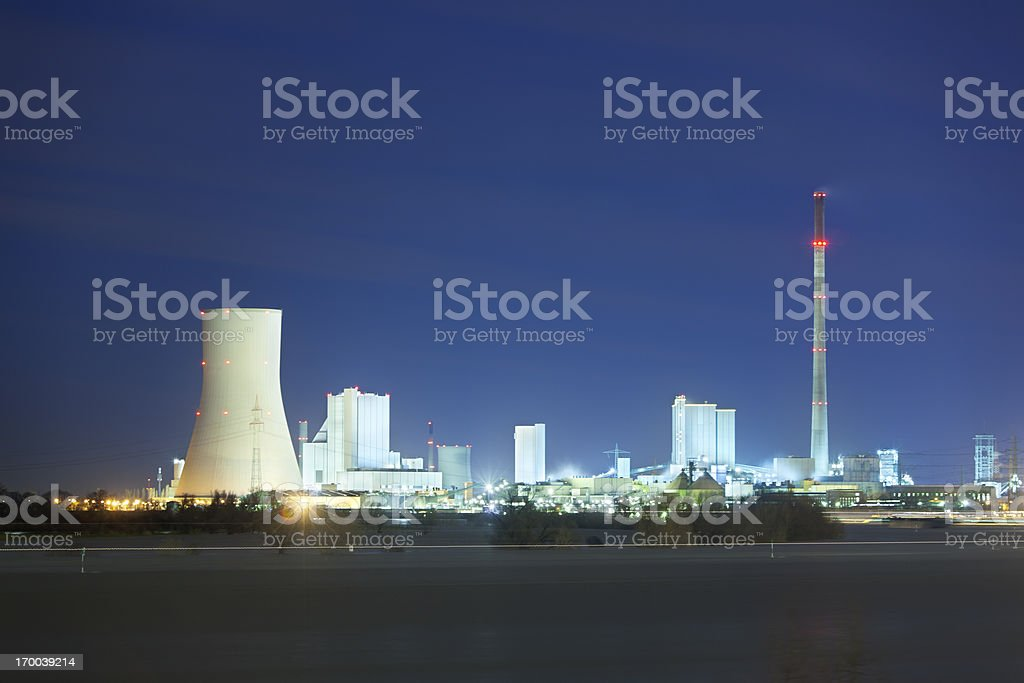 Coal Power Stations At River royalty-free stock photo