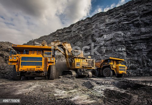 Coal production at one of the open fields in the south of Siberia. Dumpers