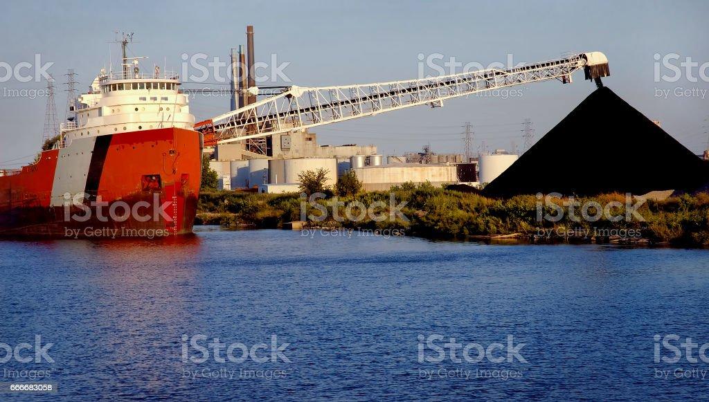 Coal Ship Unloading stock photo