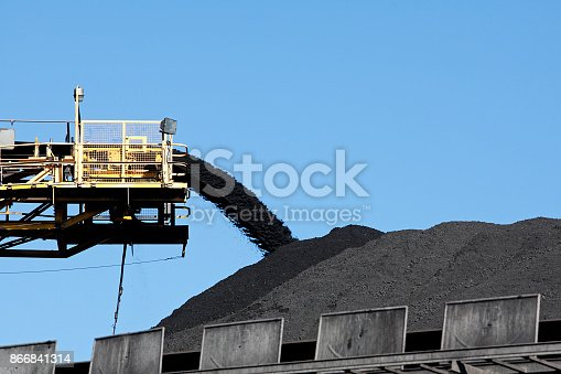 istock Coal stack and Conveyor Belt 866841314