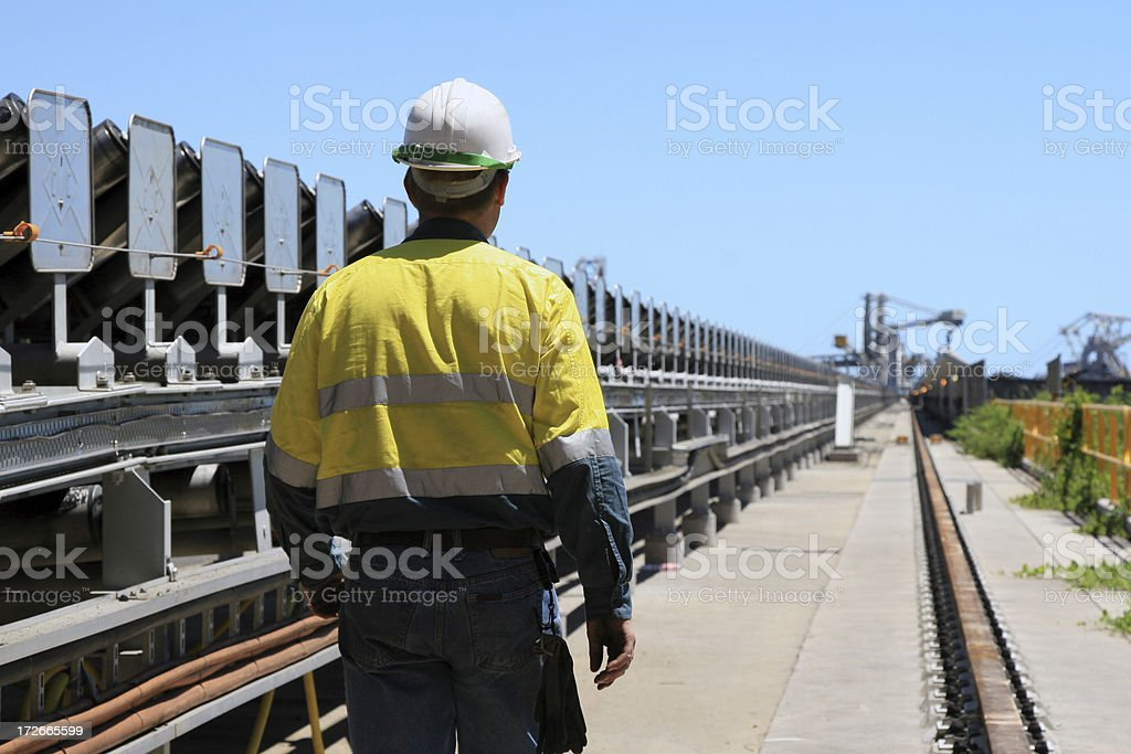 Coal Terminal Workman stock photo