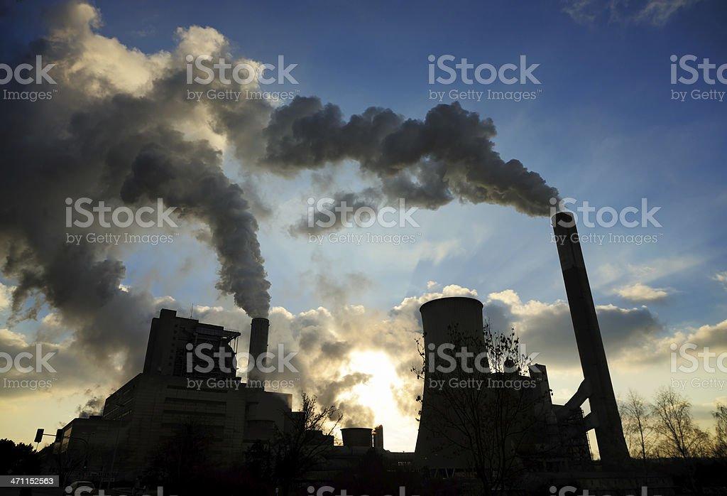 coal-burning power plant stock photo