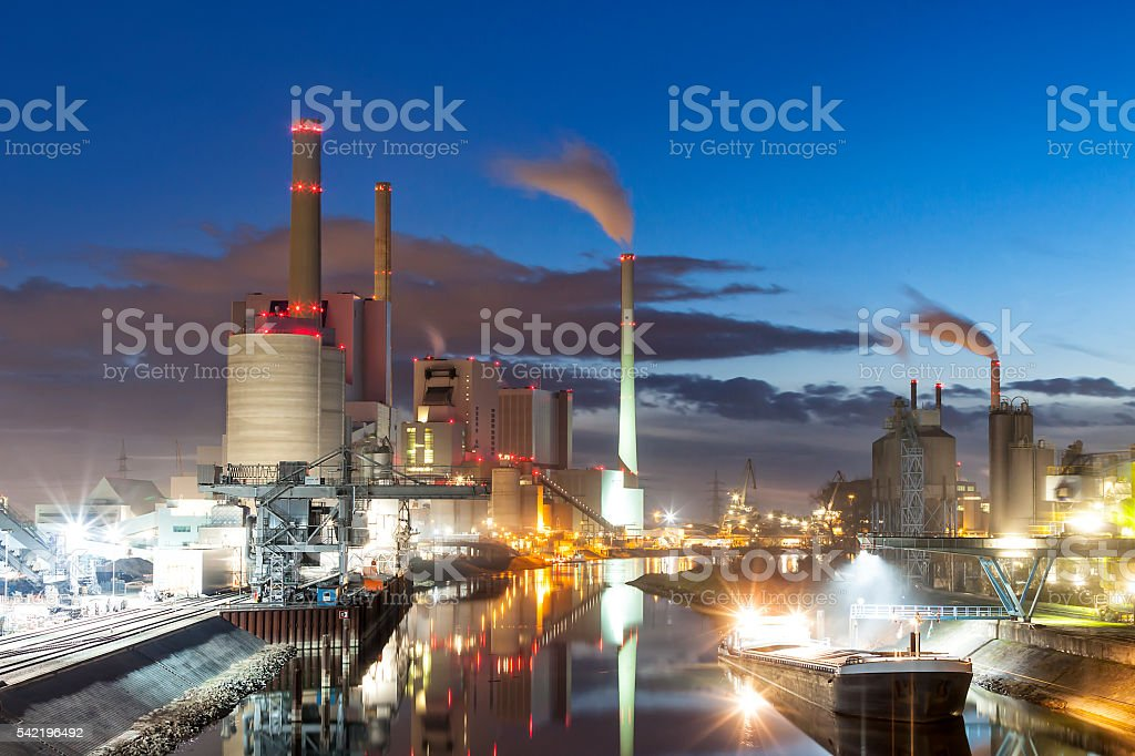 Coal-Fired Power Plant at Dusk, Germany stock photo