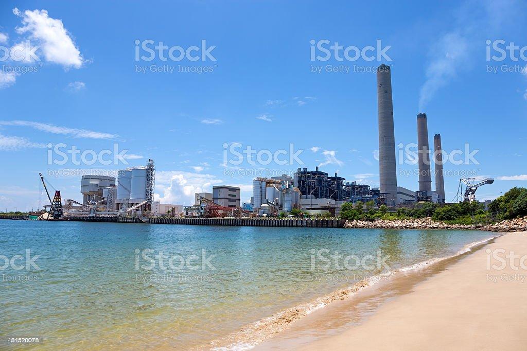 Coal-fired power station in Lamma Island stock photo