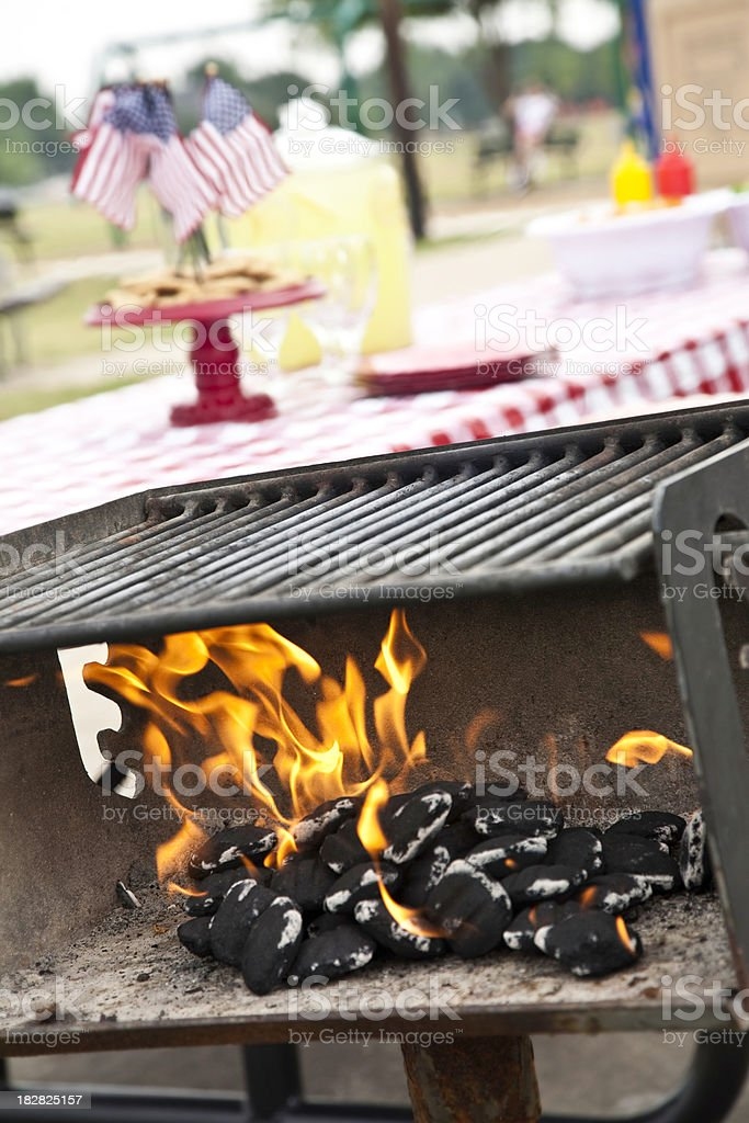 Coals Heating Up at Independence Day Picnic stock photo