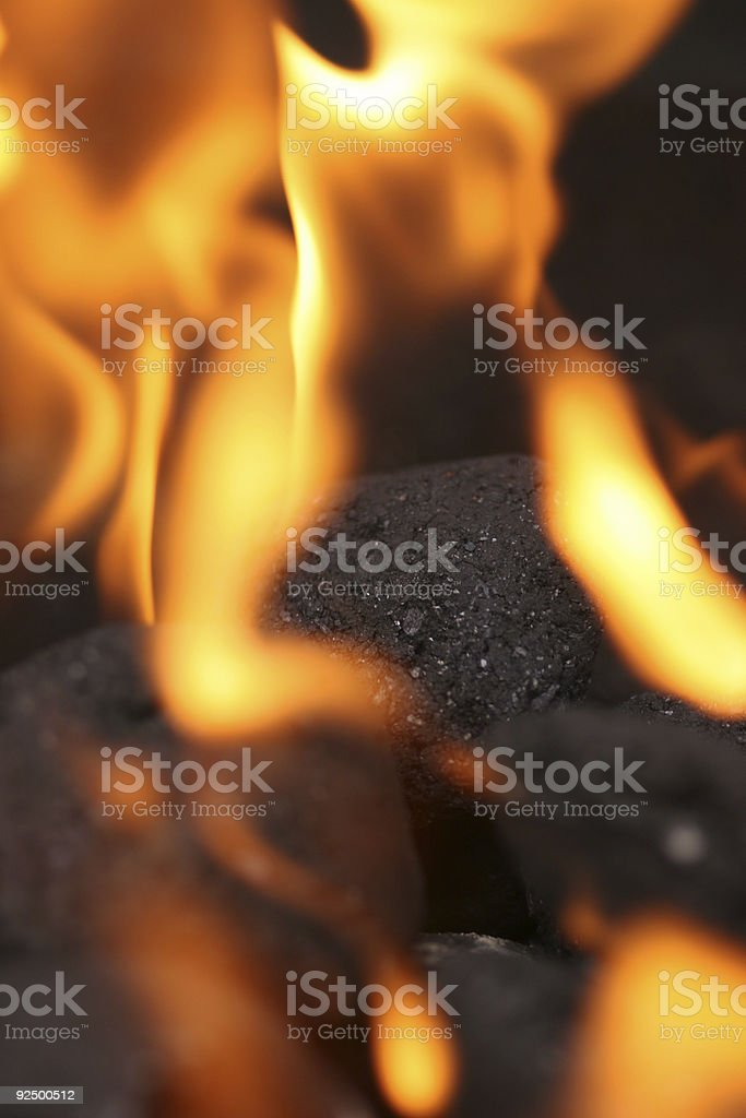 Coals on fire royalty-free stock photo