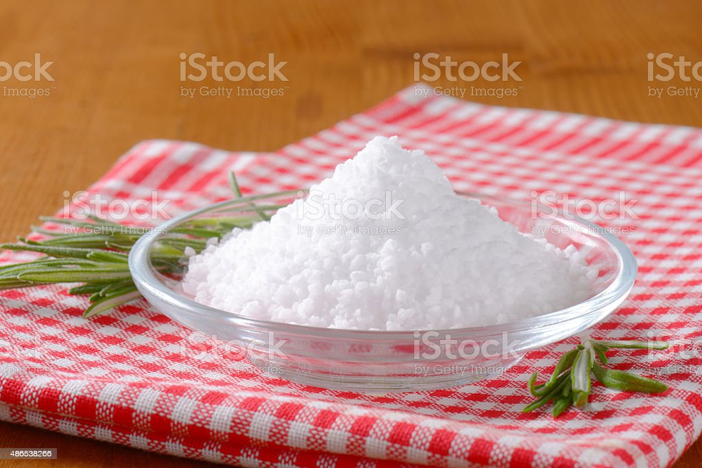 Coarse grained edible salt stock photo
