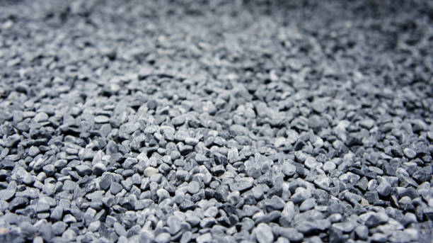 Coarse gravel, black and gray. Background texture stock photo