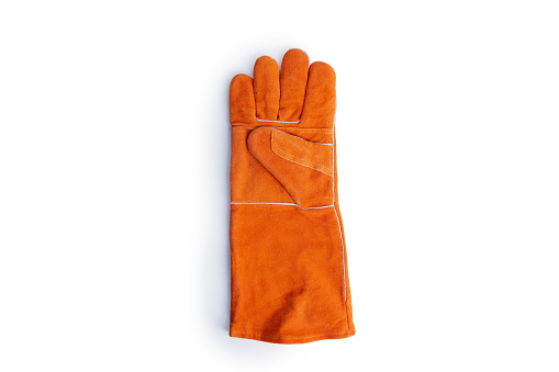 Coarse leather gloves on a white background,Good protection from heat, fire, cuts and scratch.