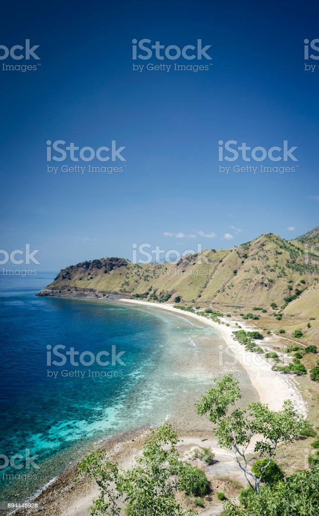 coast and beach view near dili in east timor leste from cristo rei hill monument stock photo