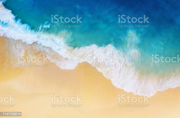 Photo of Coast as a background from top view. Turquoise water background from top view. Summer seascape from air. Nusa Penida island, Indonesia. Travel - image