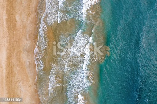 Aerial top view of mediterranean sea coast